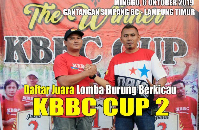 Daftar Juara KBBC CUP 2 Minggu, 6 Oktober 2019