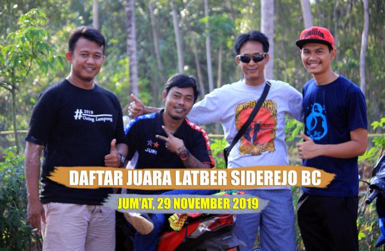 Daftar Juara Latber Jum'at Berseri Gantangan Siderejo BC – 29 November 2019