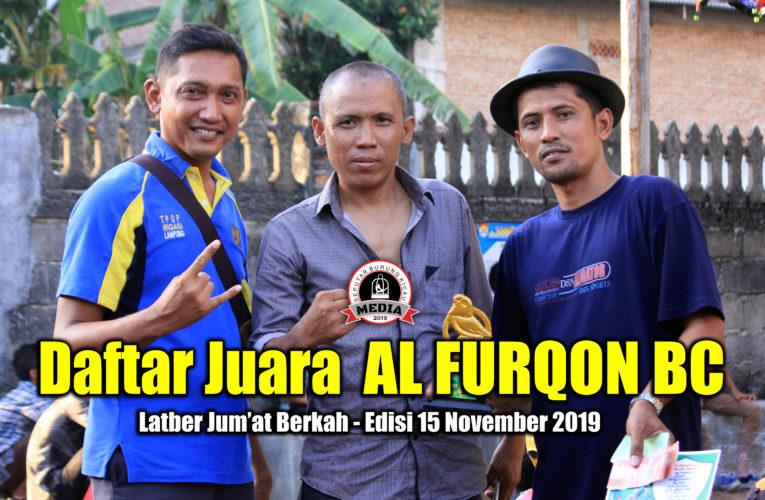 Daftar Juara Latber Jum'at Berkah AL FURQON BC – Edisi 15 November 2019