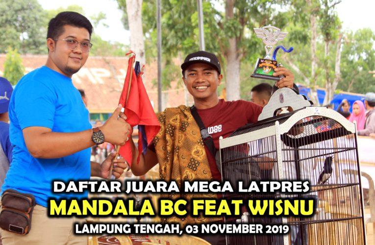 Daftar Juara Mega Latpres MANDALA BC Feat WISNU – Minggu, 03 November 2019