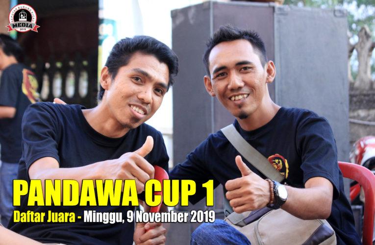Daftar Juara PANDAWA CUP 1 – Minggu, 10 November 2019