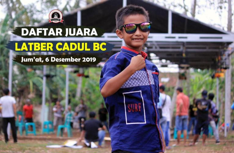 Daftar Juara Latber CADUL BC – Jum'at, 6 Desember 2019