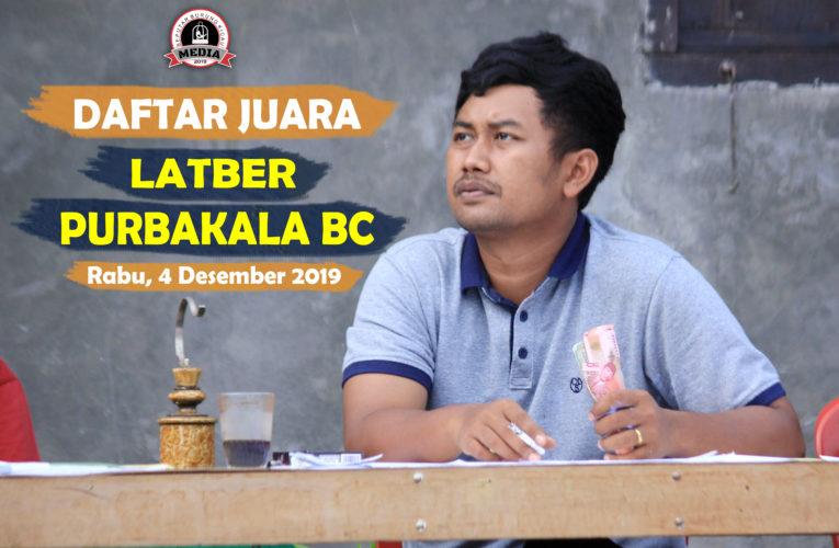 Daftar Juara Latber Purbakala BC – Rabu, 4 Desember 2019