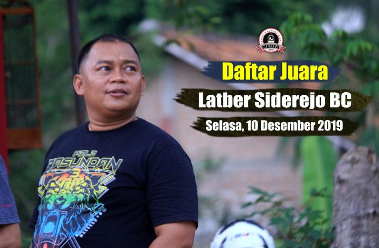 Daftar Juara Latber Selasa SIDEREJO BC – Edisi 10 Desember 2019