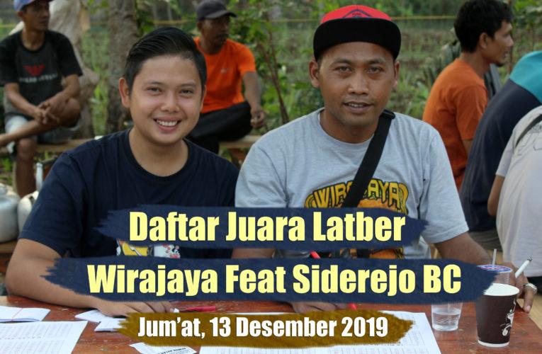 Daftar Juara Latber Jum'at Berseri WIRAJAYA Feat SIDEREJO BC – Edisi 13 Desember 2019