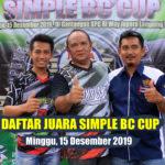 Daftar Juara SIMPLE BC CUP - Minggu, 15 Desember 2019