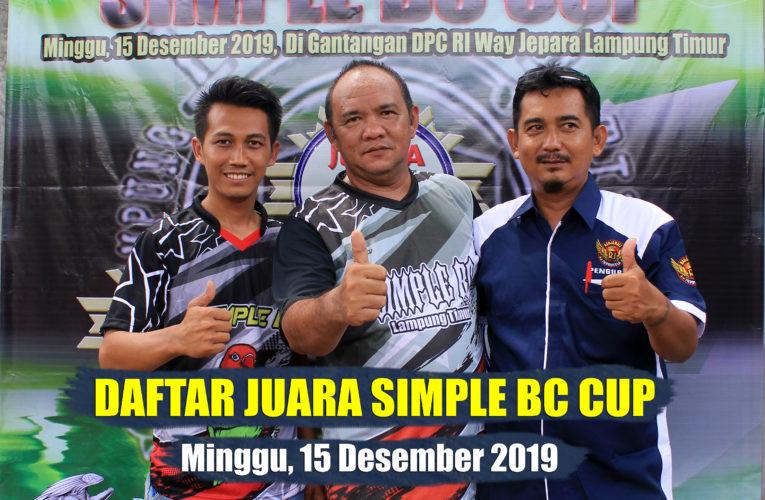Daftar Juara SIMPLE BC CUP – Minggu, 15 Desember 2019