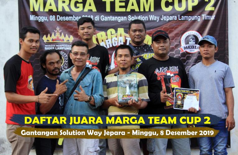 Daftar Juara MARGA TEAM CUP 2 – Minggu, 8 Desember 2019