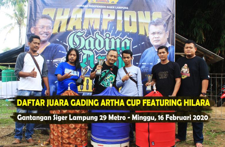 Daftar Juara Gading Artha Cup Featuring Hilara – Minggu, 16 Februari 2020