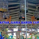Daftar Juara BARON CUP 1 Bersama Juri Independen Siger Lampung - Minggu, 15 Maret 2020