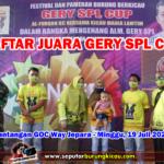 Daftar Juara GERY SPL CUP - Minggu, 19 Juli 2020